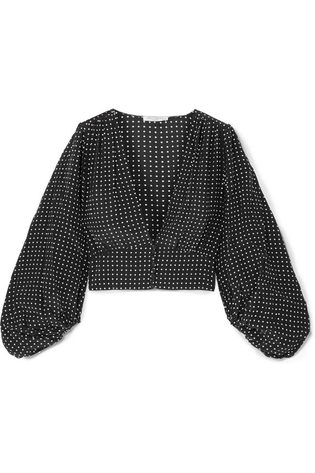Equipment Sola Cropped Polka-Dot Silk Crepe de Chine Top
