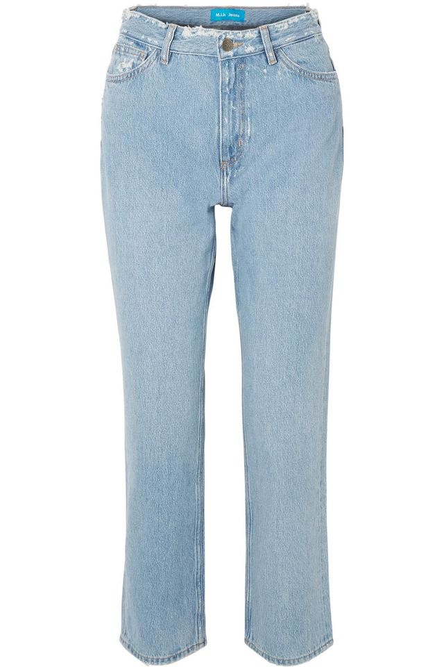 M.i.h Jeans Jeanne High-Rise Cropped Distressed Straight-Leg Jeans