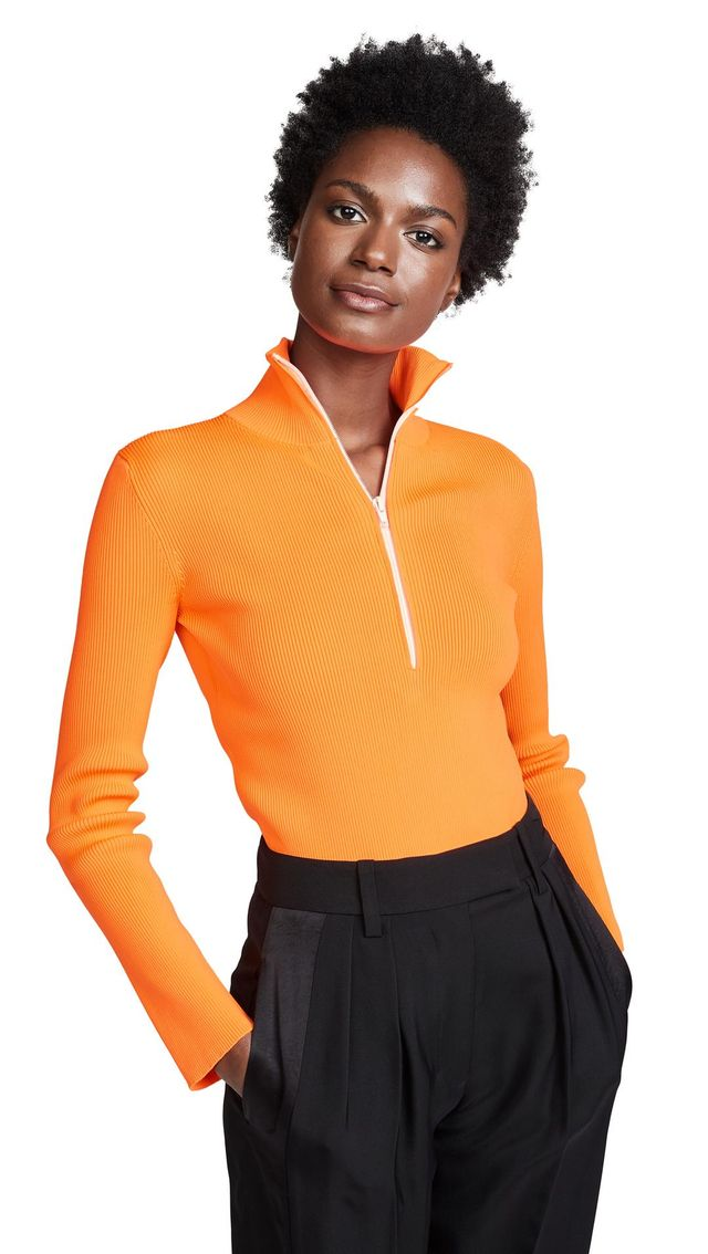 Tibi Track Zip Up Pullover