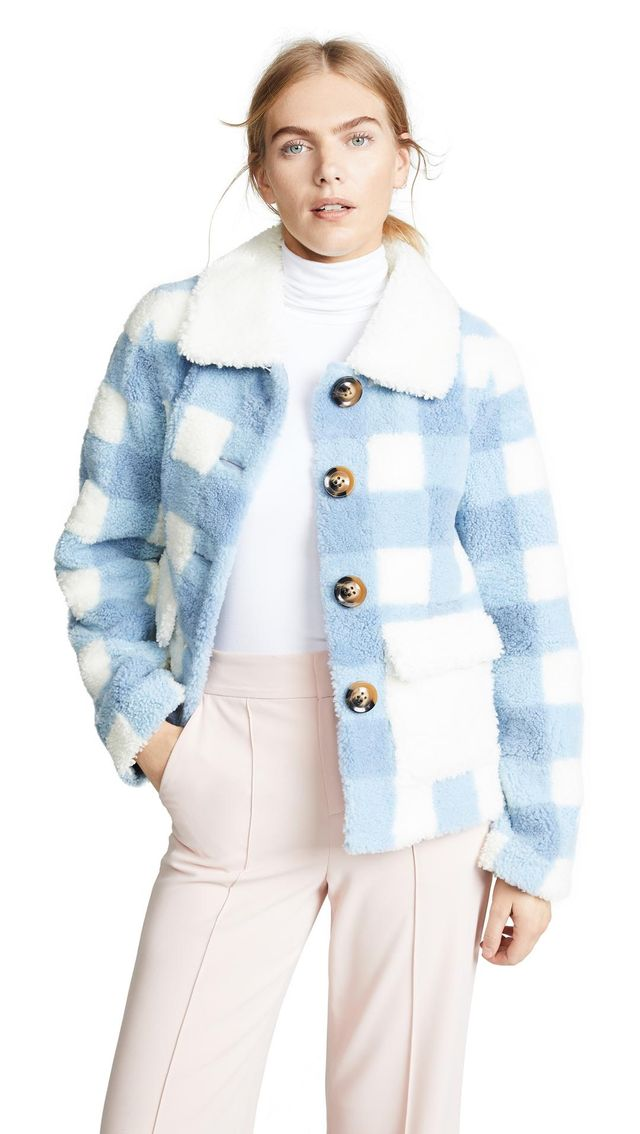 Saks Potts Lucy Check Shearling Jacket