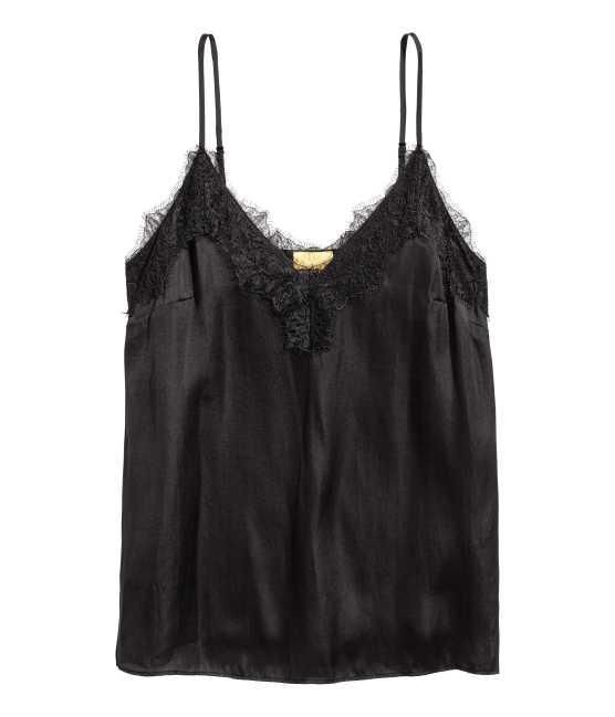 Satin and Lace Camisole Top in Black