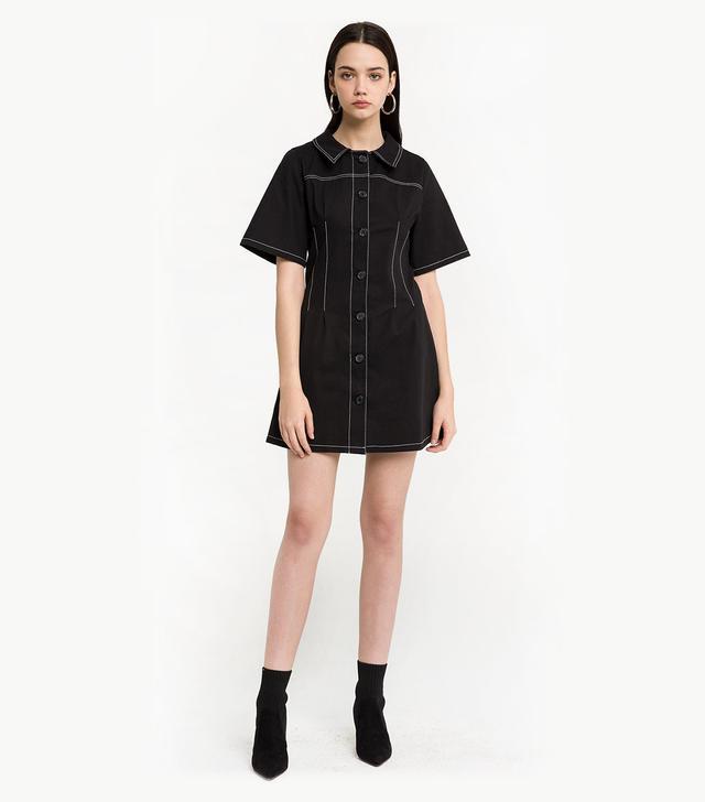 Pixie Market Contrast Stitch Button Dress
