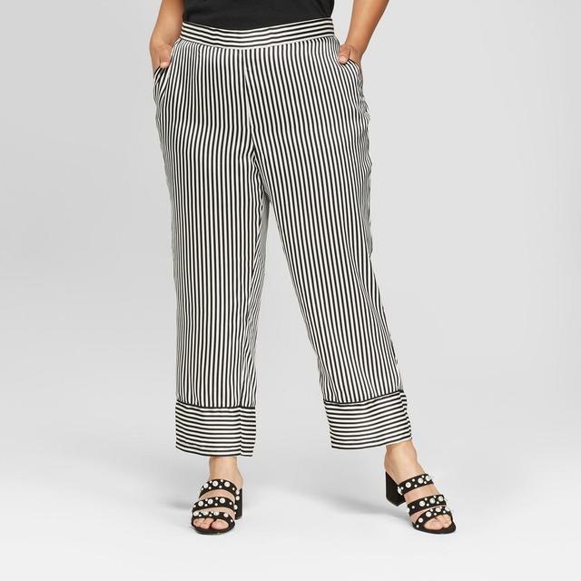 Plus Size Striped Straight Leg Pajama Crop Pants