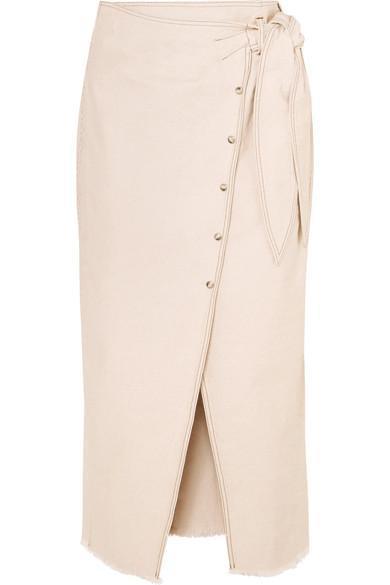 Opal Asymmetric Denim Wrap Skirt