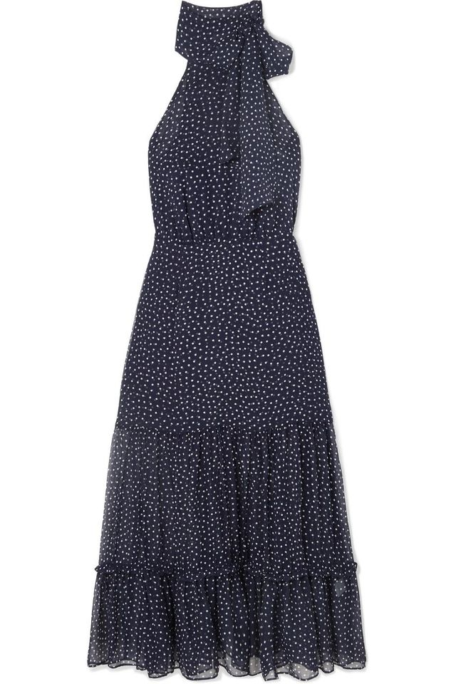 Eleanor Polka-dot Silk Midi Dress