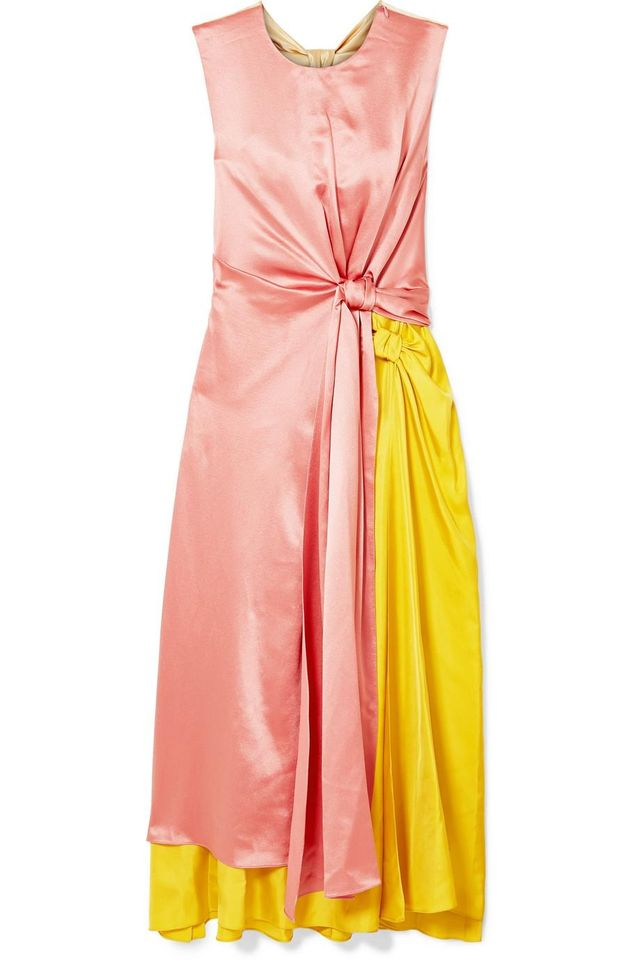 Nyimi Color-block Silk Midi Dress
