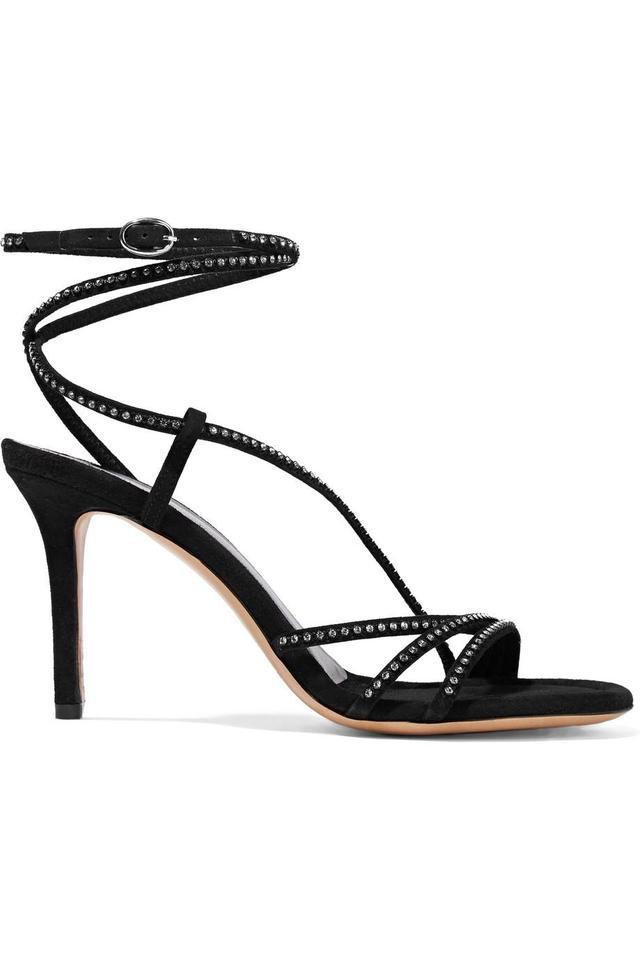 Ampsee Crystal-Embellished Suede Sandals