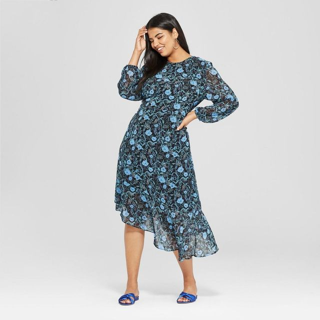 Floral Print Long Sleeve Waterfall Hem Dress