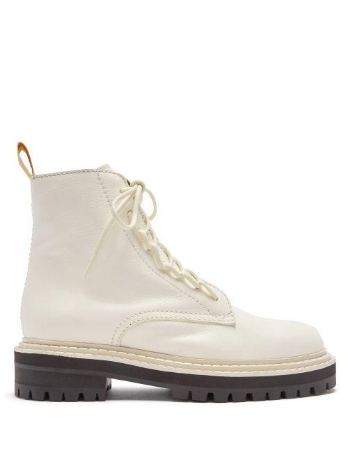 - High Top Leather Combat Boots - Womens - White