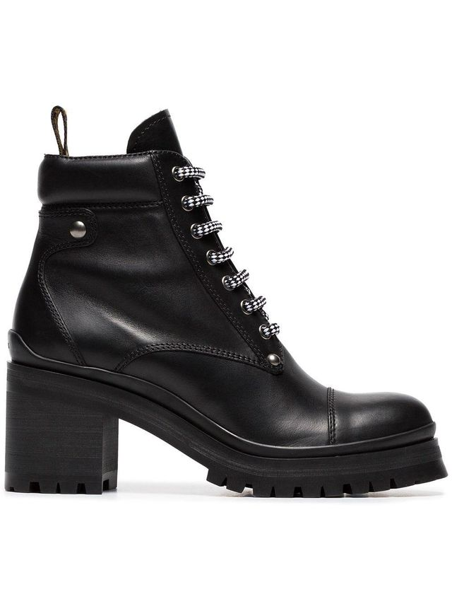 Logo Embellished Leather Combat Boots