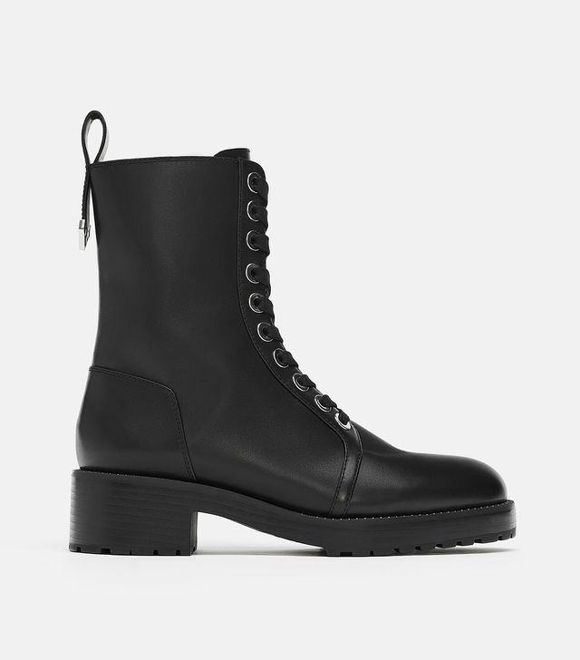 Zara Micro Studded Leather Biker Ankle Boots