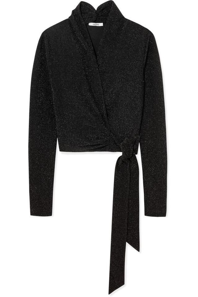 Ganni Baxter Metallic Stretch-Knit Wrap Top