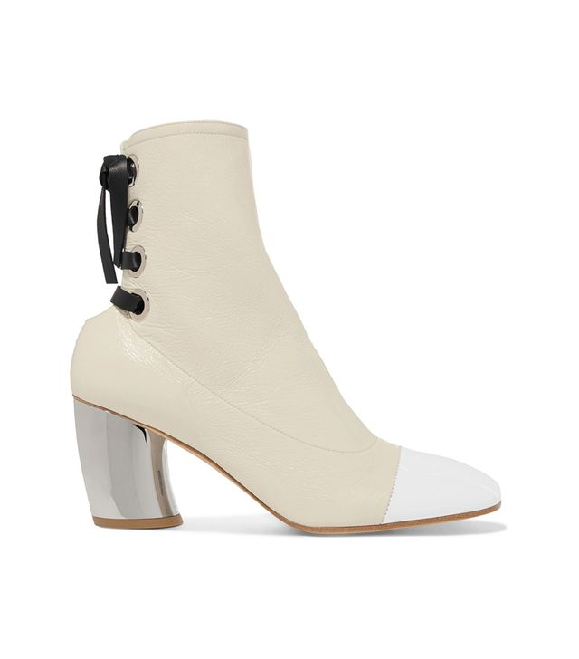 Lace-up Glossed Textured-leather Ankle Boots