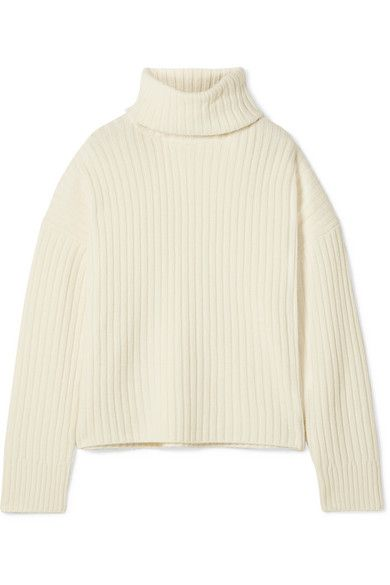 Re/Done Oversized Ribbed Wool and Cashmere-Blend Turtleneck Sweater