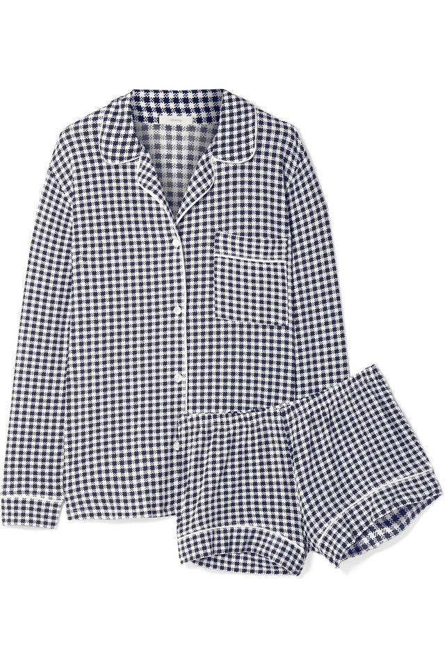 Bettina Sleep Chic Gingham Stretch-modal Jersey Pajama Set