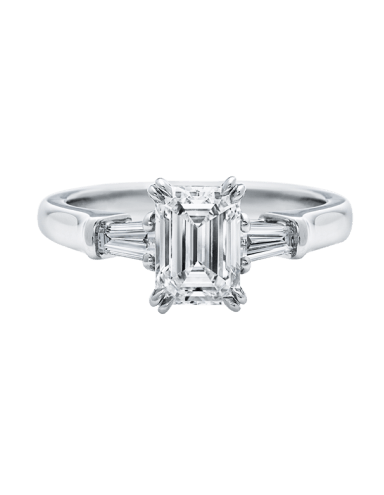 Harry Winston Emerald-Cut Engagement Ring with Tapered Baguette Side Stones