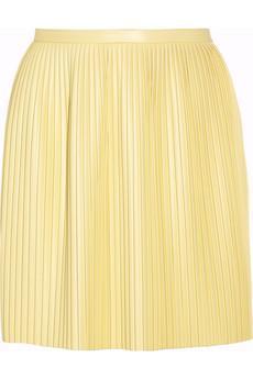 Tibi Eniko Pleated Faux Leather Skirt