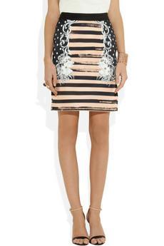 Emma Cook  Printed Satin-Twill Pencil Skirt