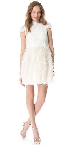 Alice + Olivia   Gwen Feather Skirt Dress