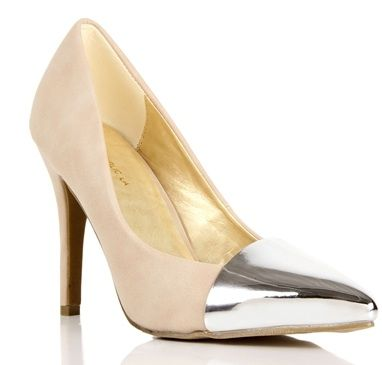 Windsor  Nude/Silver Cap Toe Pumps