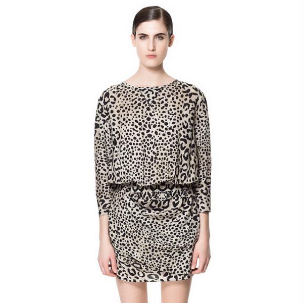 Zara  Printed Draped Dress