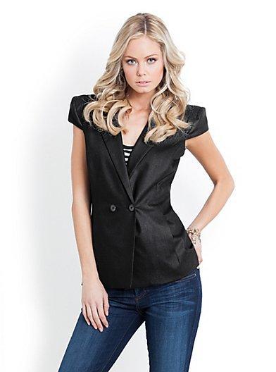 Guess Liz Cap-Sleeve Suiting Vest