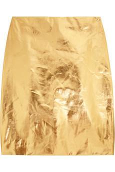 Simone Rocha Metallic Coated Cotton-Blend Pencil Skirt