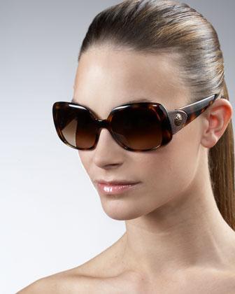 Tory Burch Oversized Square Leather Logo Sunglasses