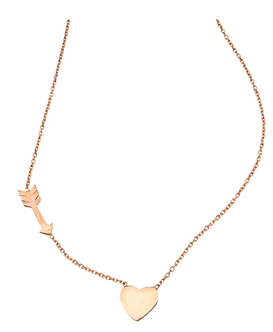 Max and Chloe Heart & Cupid Arrow Pendant Necklace
