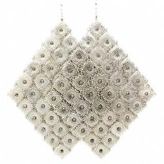 Suzettas Extra Large Silver Diamond Shape Earrings