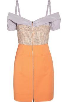 Carven  Stretch-Gabardine Tweed and Cotton-Twill Mini Dress