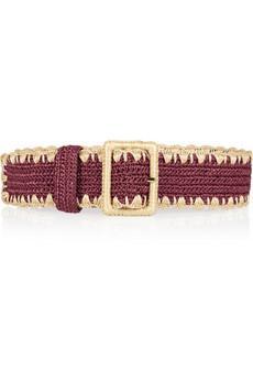 Dolce & Gabbana  Woven-Raffia and Leather Waist Belt