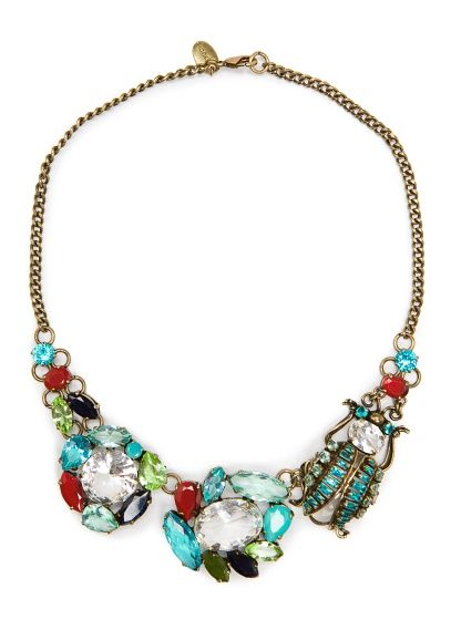 Mango Touch Crystals Beetle Necklace