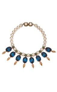 Mawi Mawi Pearl Necklace with Oval Gemstones and Spikes