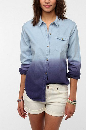 BDG  Dip-Dye Oxford Button-Down Shirt