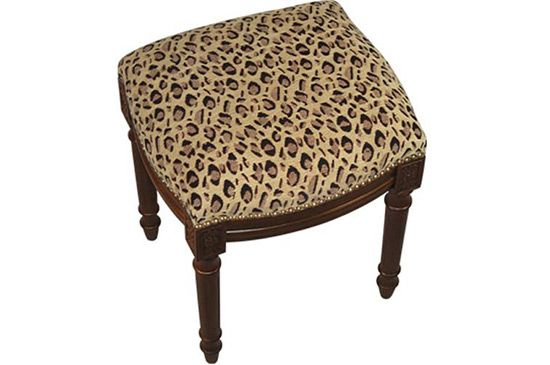 Bellacor 123 Creations Leopard Fabric Uholstered Stool
