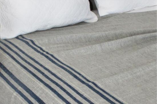 Swans Island Company Indigo Stripes Blanket