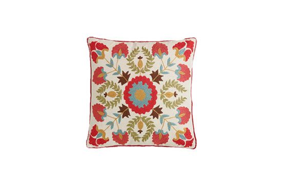 World Market Red Suzani Embroidered Throw Pillow