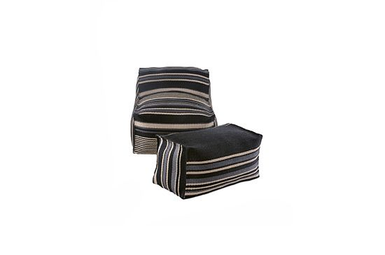 Horchow Striped Outdoor Beanbag Chair & Ottoman