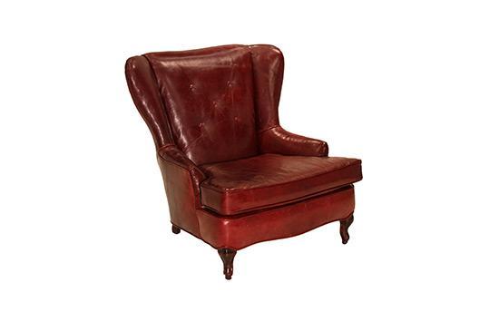 1stdibs Obtuse Oxblood Wing Back Chair