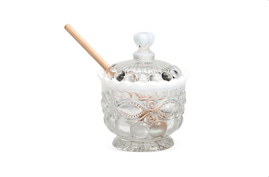 One Kings Lane Milk-Glass Honey Pot With Dipper