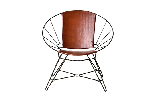 West Elm Sculpted Metal + Leather Bowl Chair