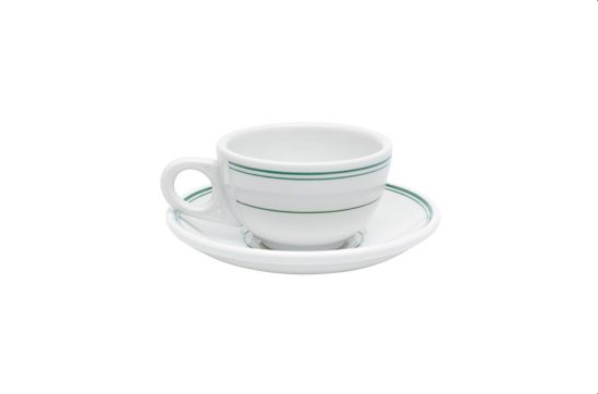 Fishs Eddy Green Band Cup and Saucer