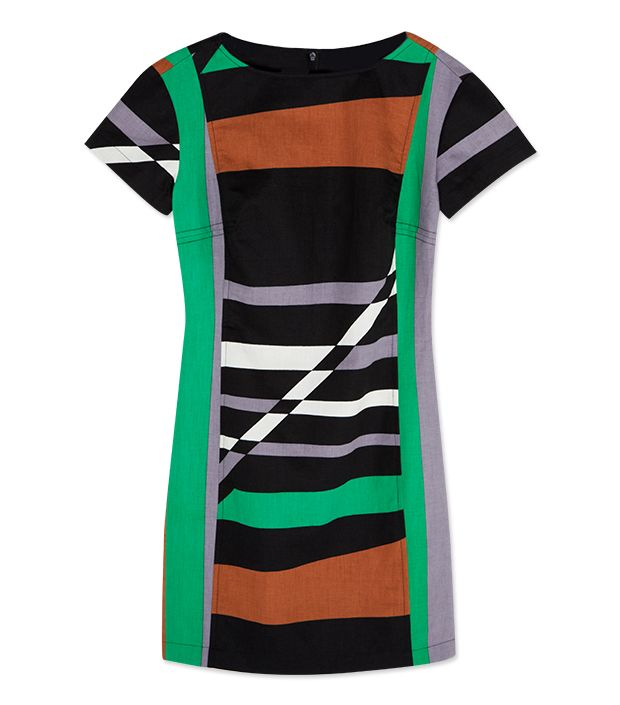 """<p><a href=""""http://rstyle.me/n/txrpch9e"""" target=""""_blank"""" title=""""Striped Sheath Dress"""">Striped Sheath Dress</a> ($70) in Graphic Surf Parrot</p>"""