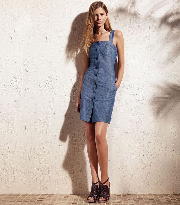 """<p><a href=""""http://rstyle.me/n/ty8nch9e"""" target=""""_blank"""" title=""""Chambray Jumper Dress"""">Chambray Jumper Dress</a> ($70)</p>"""