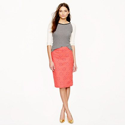 J.Crew  No. 2 Pencil Skirt in Pinwheel Eyelet