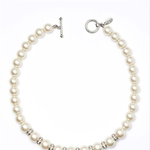 Ann Taylor Pearlized Bead and Crystal Necklace