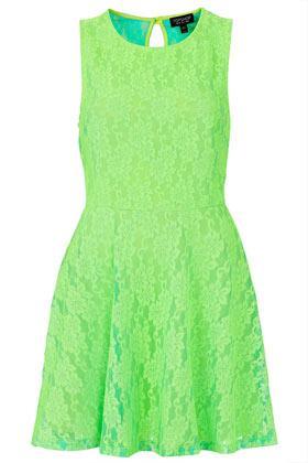 Topshop  Fluorescent Lace Flippy Tunic