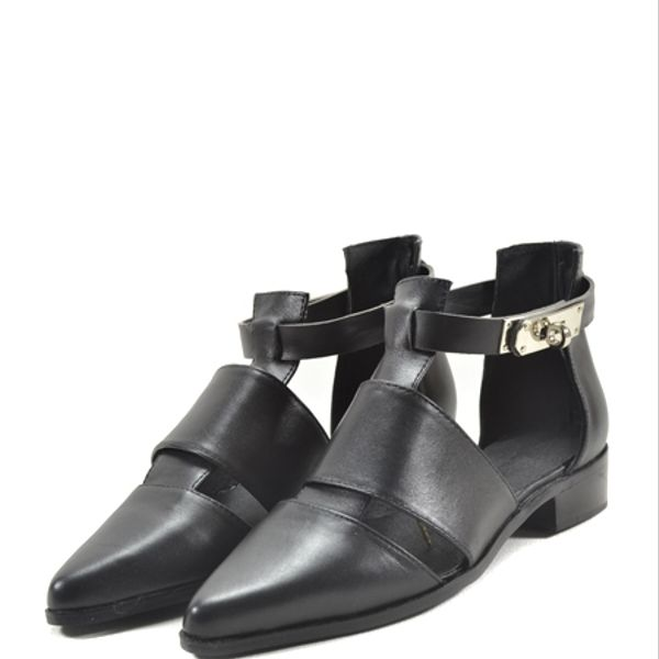 Choies Black Leather Pointed Ankle Sandals