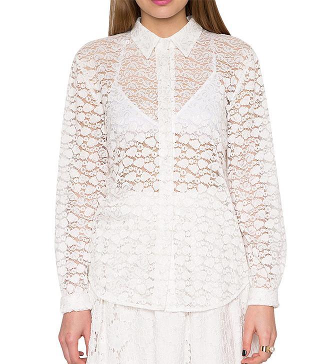 Pixie Market White Lace Shirt